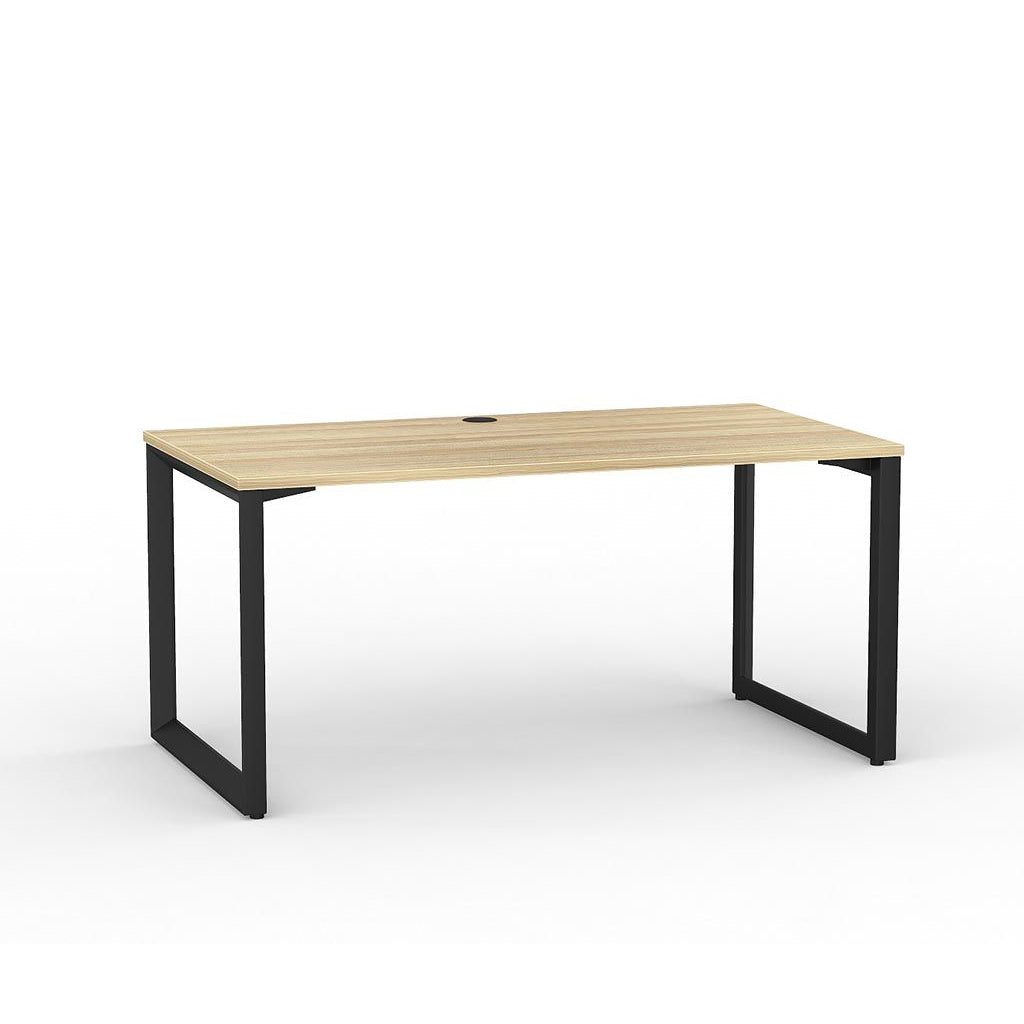 Anvil Straight Desk – Black / Atlantic Oak