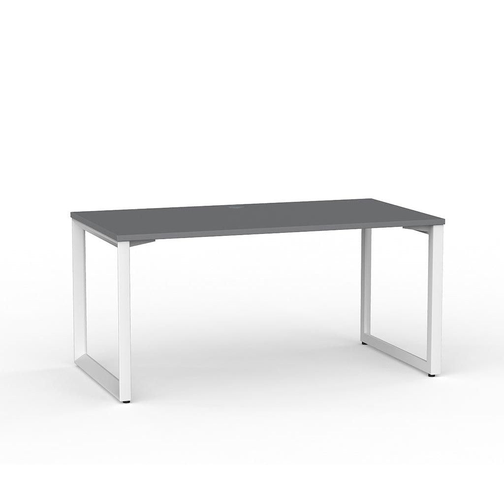 Anvil Straight Desk – White / Silver