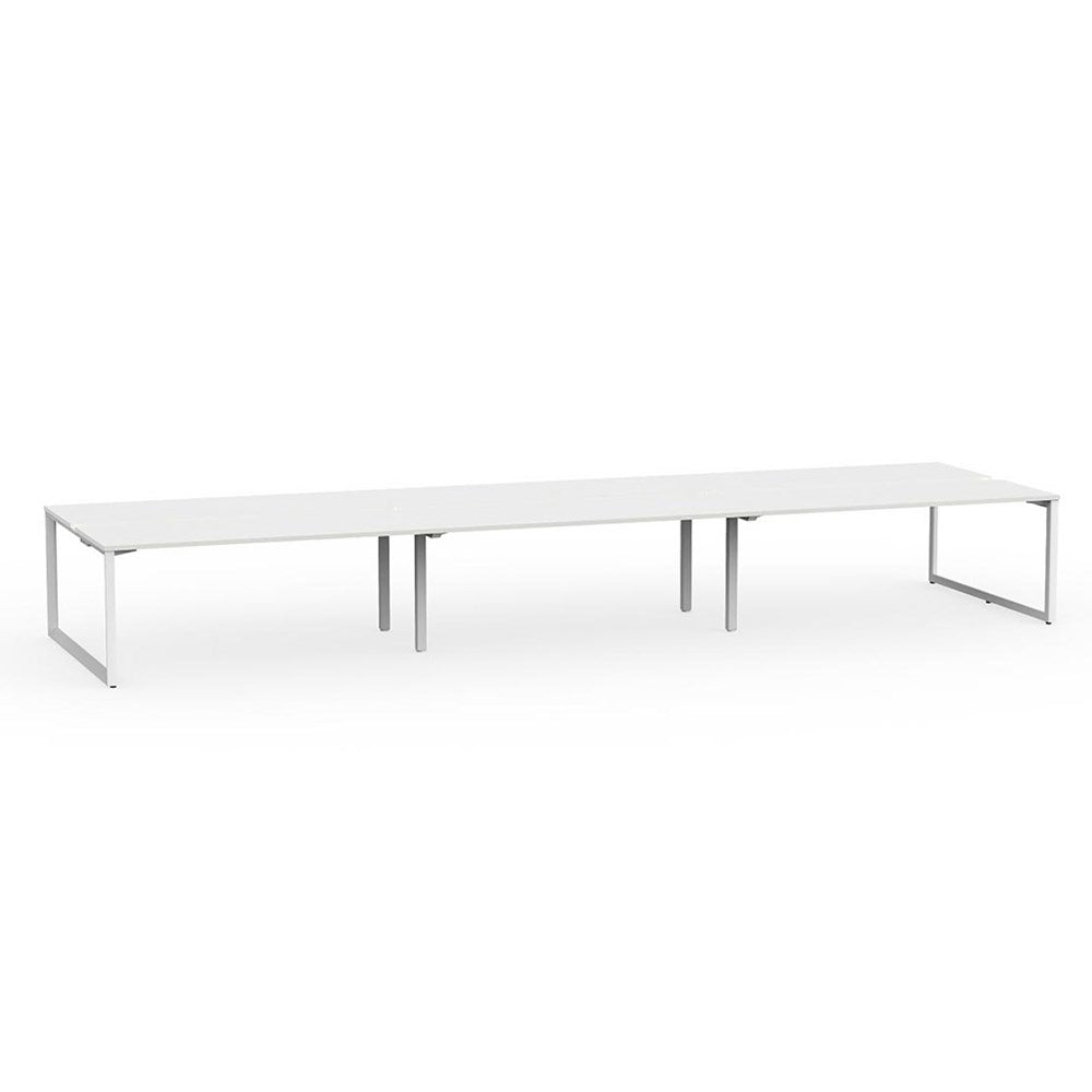 Anvil White Frame 1800 Double-Sided Shared Desk – 6 Person