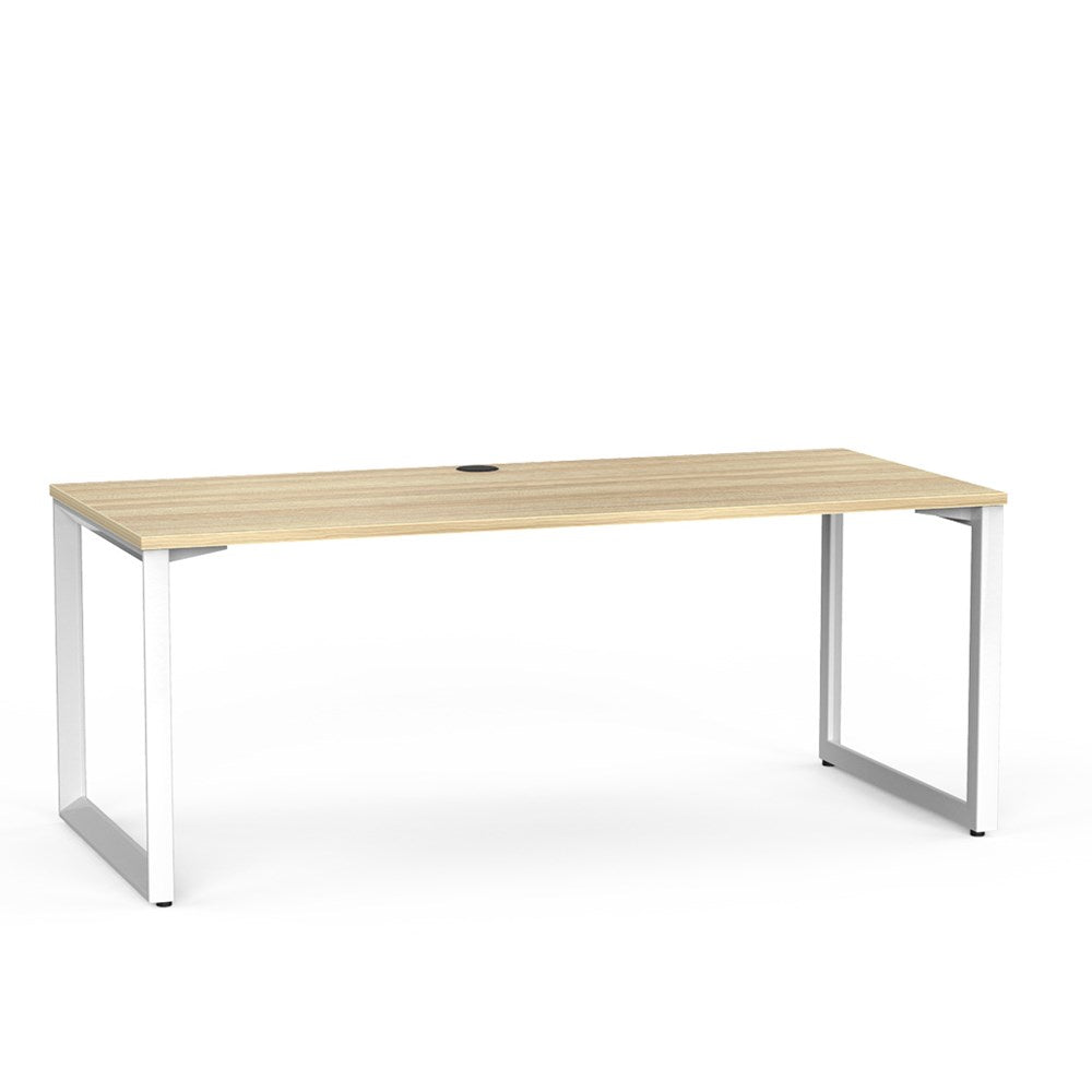 Anvil Straight Desk - White  / Atlantic Oak