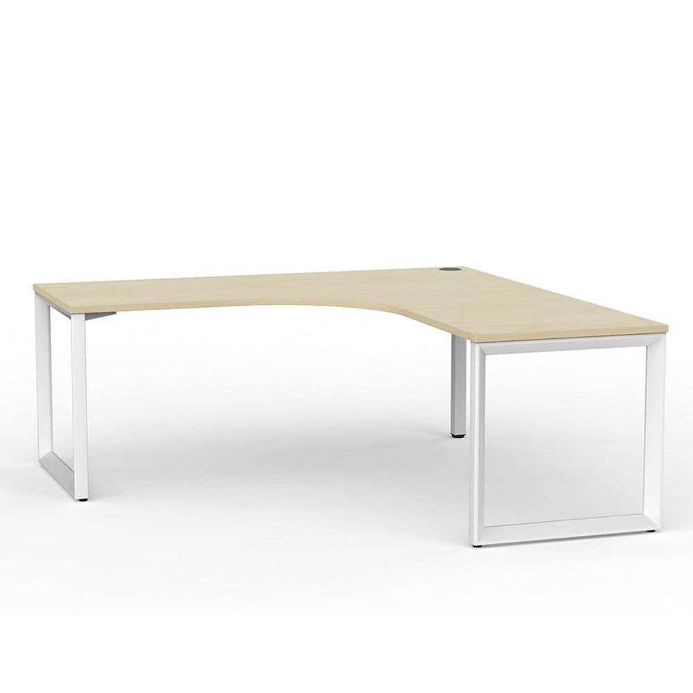 Anvil Corner Desk – White / Nordic Maple