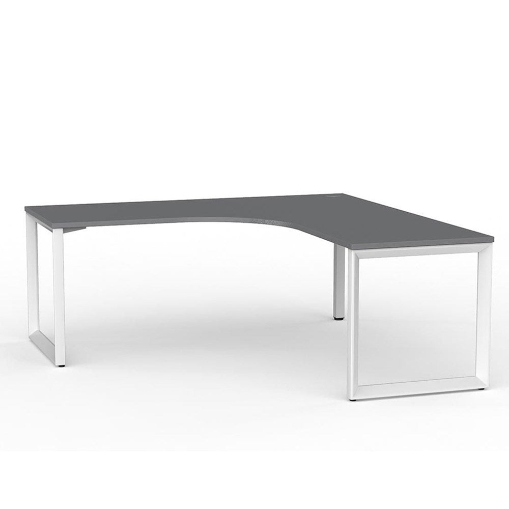 Anvil Corner Desk – White / Silver