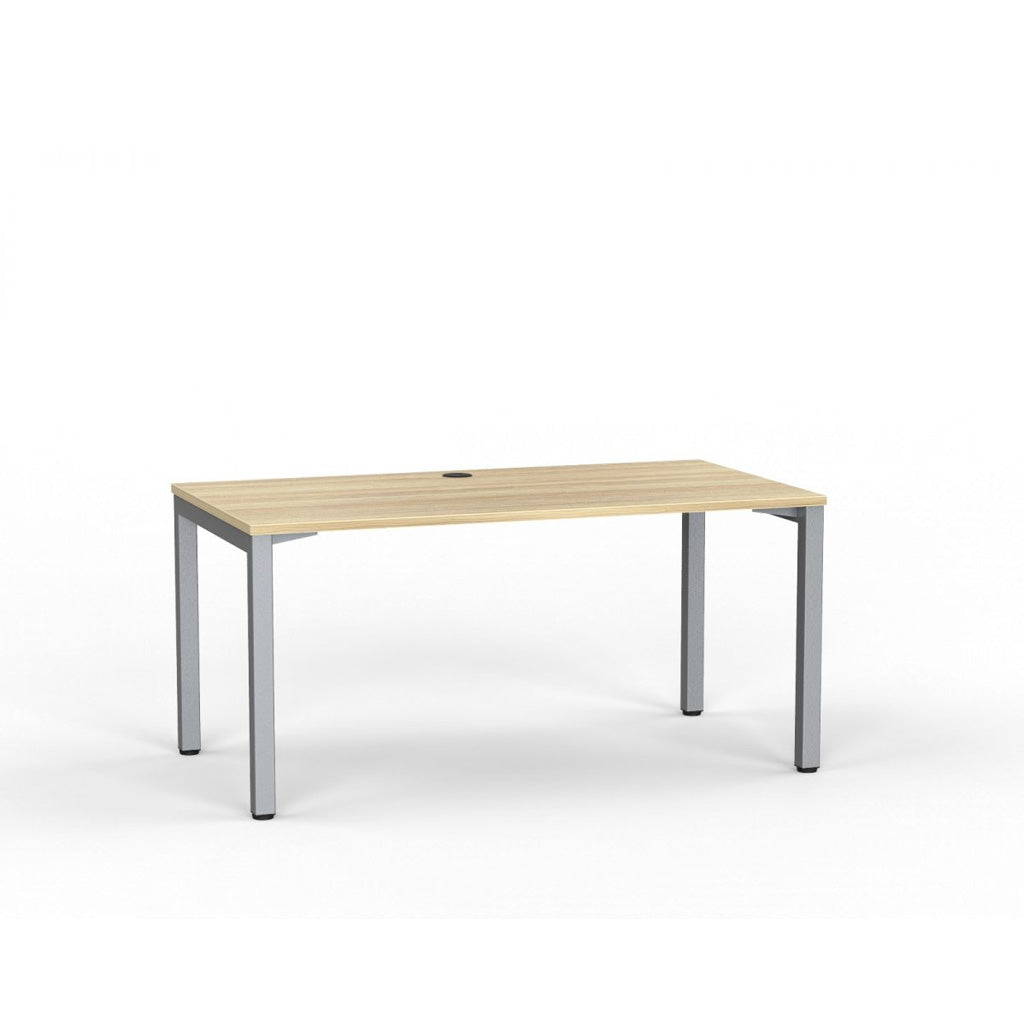 Cubit Straight Desk - Silver / Atlantic Oak