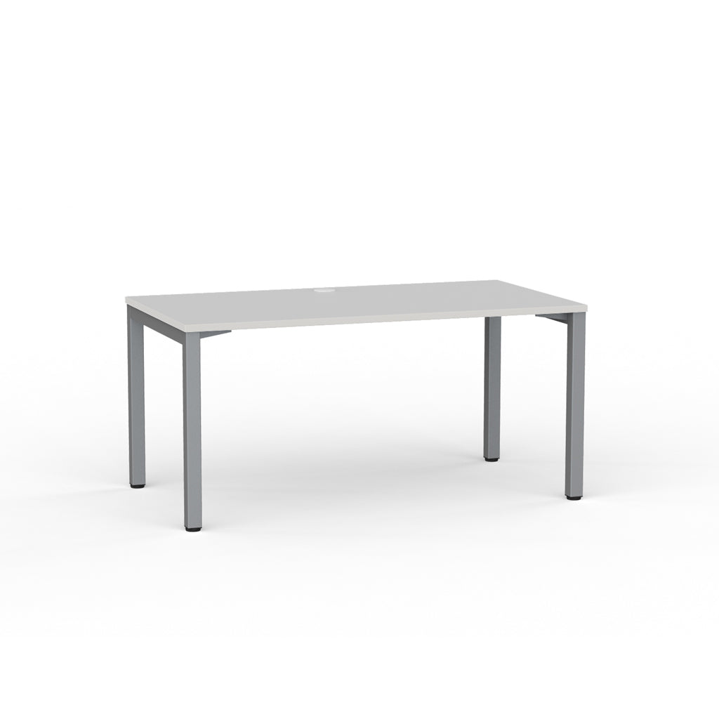 Cubit  Straight Desk - Silver / White