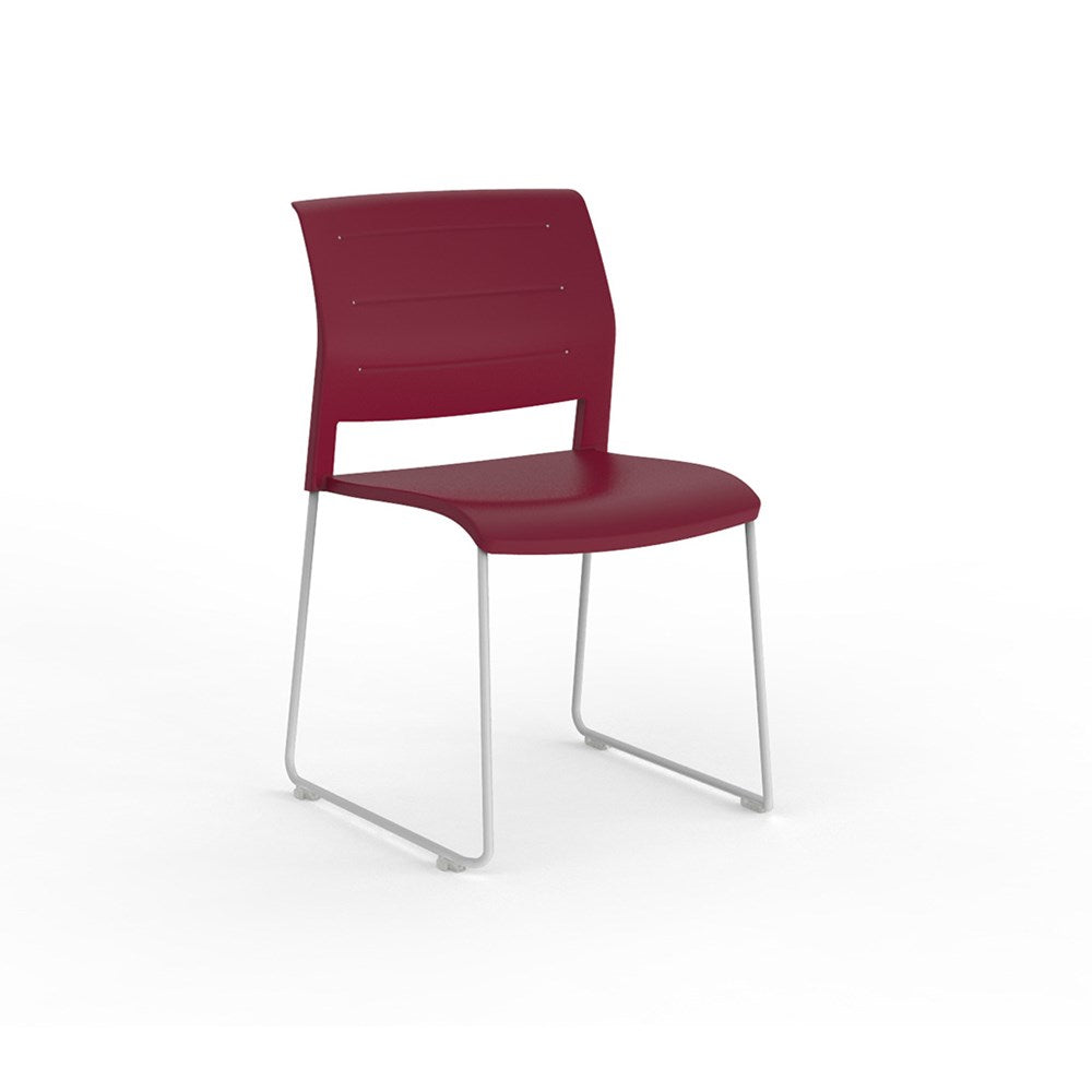 Game Conference Chair White Sled Frame