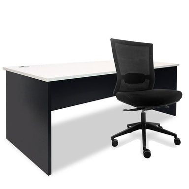 black and white desk with office chair