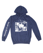 """Island of Happiness"" Hooded Sweater Dark Navy"
