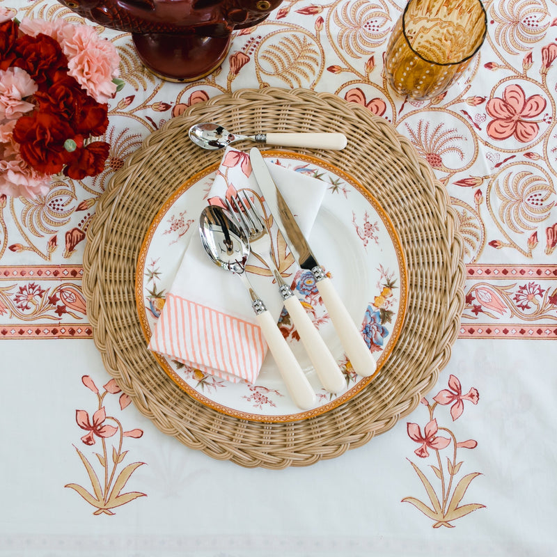 Block Print Tablecloth & Napkin Set ~ Amber Palace