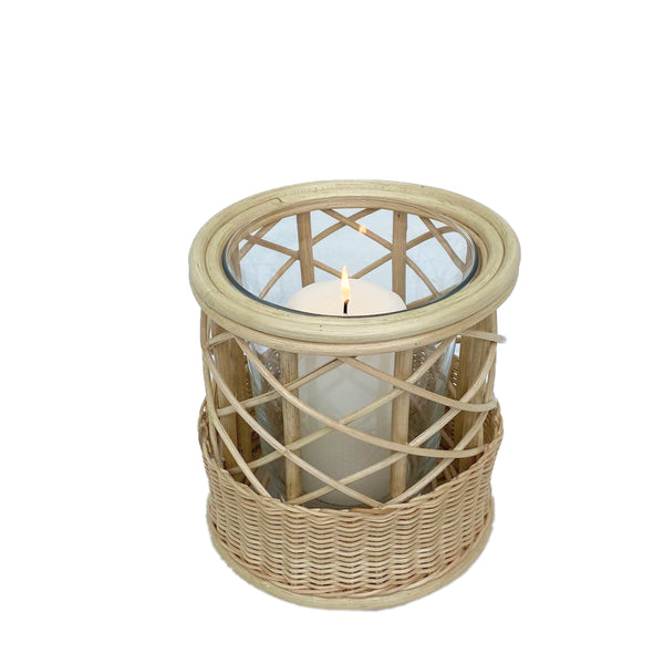 Belanak Wicker Hurricane Large. These wicker hurricanes can be used in multiple ways. Group the two different sizes with candles on the dinner or side table or alternatively use them as vases with fresh flowers.  The glass insert can be removed for easy cleaning in the dishwasher. Made by hand of woven rattan by our artisans in Java, Indonesia.