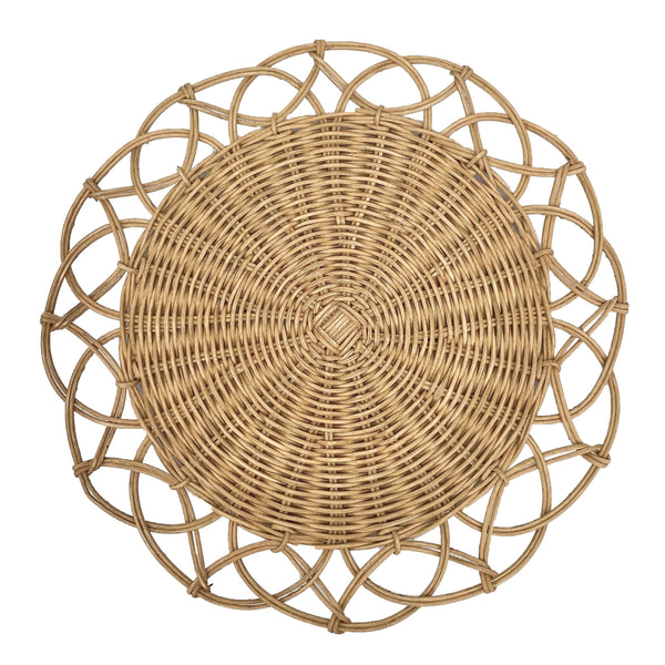 Belanak Wicker Placemat. The Belanak wicker placemats are the perfect addition to any table setting. They are handwoven by our artisans in Java using honey coloured rattan. A very versatile placemat with a tropical touch.
