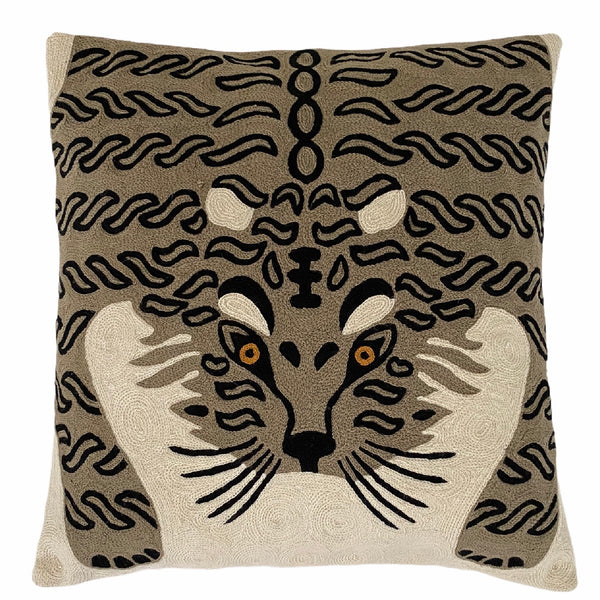 Bengal Tiger Cushion Cover ~ White & Grey