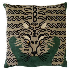 Each cover is made by hand by skilled artisans in Kashmir, the most northern part of India. Using a technique called chainstitch, colourful pure wool yarn is stitched by hook through cotton. Each cover takes up to a week to make.  We are stocking these beautiful cushion covers in a selection of bold colours in very small quantities. This one is a beige tiger on emerald green background.