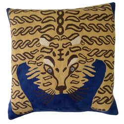 Bengal Tiger Cushion Cover Royal Blue. Each cover is made by hand by skilled artisans in Kashmir, the most northern part of India. Using a technique called chainstitch, colourful pure wool yarn is stitched by hook through cotton. Each cover takes up to a week to make.  We are stocking these beautiful cushion covers in a selection of bold colours in very small quantities. This one is a golden-beige tiger on royal-blue background.