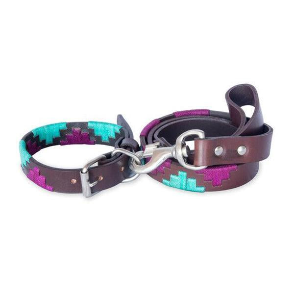 Dog Collar and Leash Set Fiocco. These wonderful adjustable dog collars are in the style of Argentinian Gaucho Belts that Polo players are traditionally wearing.  They are made by hand in South America of dark brown premium leather with colourful thread stitching, which has been dipped in wax for easy cleaning. The set comes with a collar and matching leash.