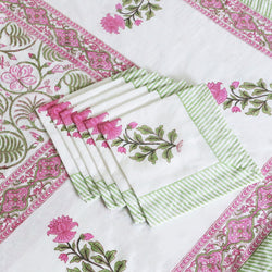 Block Print Tablecloth & Napkin Set ~ Hawa Mahal