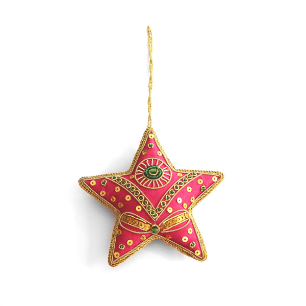 Christmas Tree Ornaments ~ Pink and Green Star