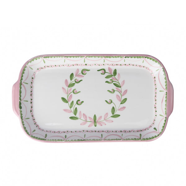 Garland Serving Platter ~ Pink & Green