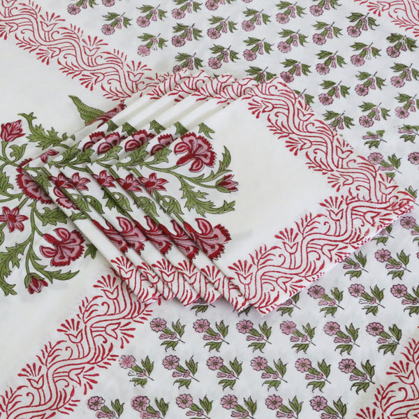 Block Print Tablecloth & Napkin Set ~ Jal Mahal