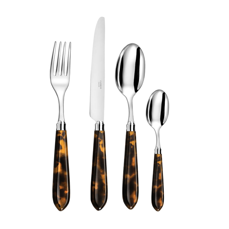 Omega 4 piece cutlery set ~ Tortoiseshell. This elegant 4-piece Cutlery Set in a classic tortoiseshell finish with detailed shades in brown and orange, is the perfect addition to your dinner table. It is adaptable to pretty much any style of dinner setting, making it an ideal choice for everyday dining. A true classic!  The cutlery has been created by one of the finest French cutlers, a family whose vision is to carry on the cutler tradition and produce cutlery of the very highest quality.