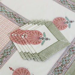 Block Print Tablecloth & Napkin Set ~ Pink City