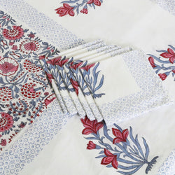 Block Print Tablecloth & Napkin Set ~ The Sujan