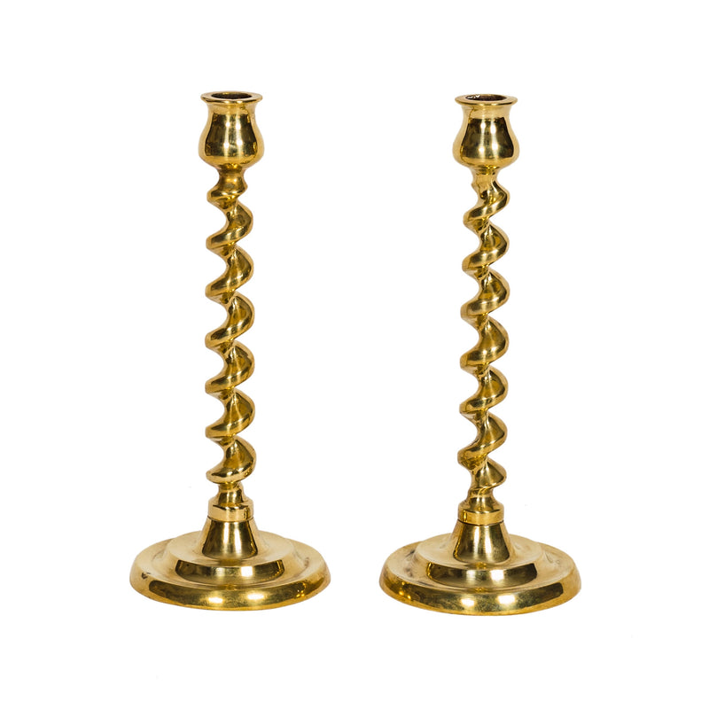 Pair of Antique Brass Twist Candlesticks