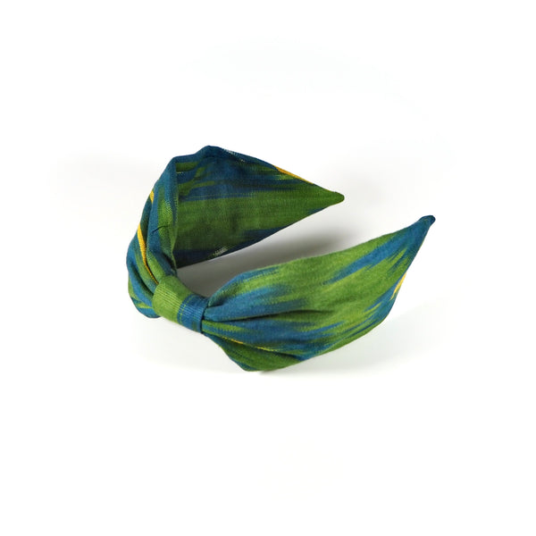 Vintage Silk Ikat Hairband ~ Green, Blue and Yellow