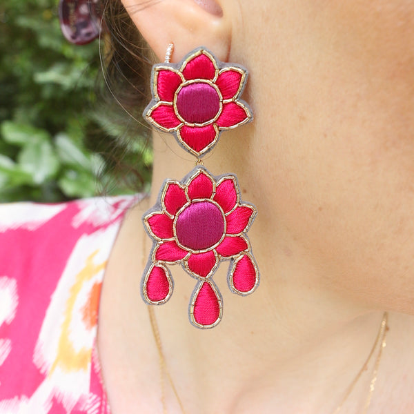Flower Earrings ~ Magenta & Pink