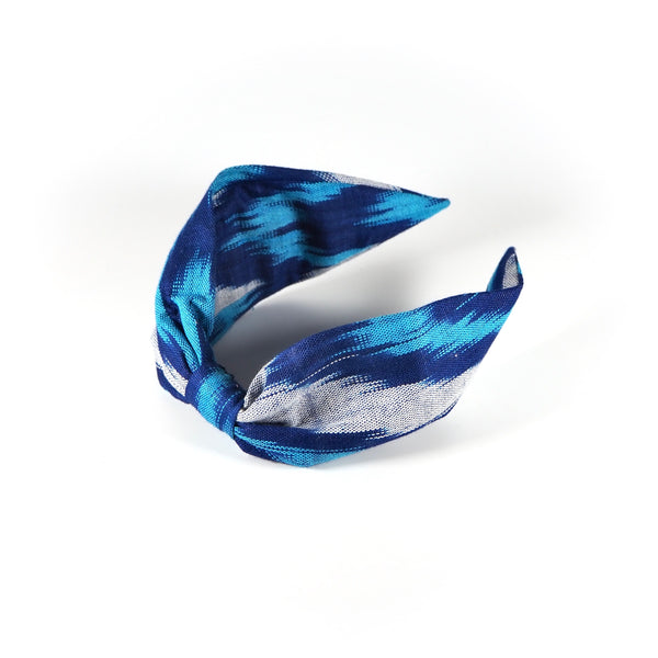 Vintage Silk Ikat Hairband ~ Blue & White