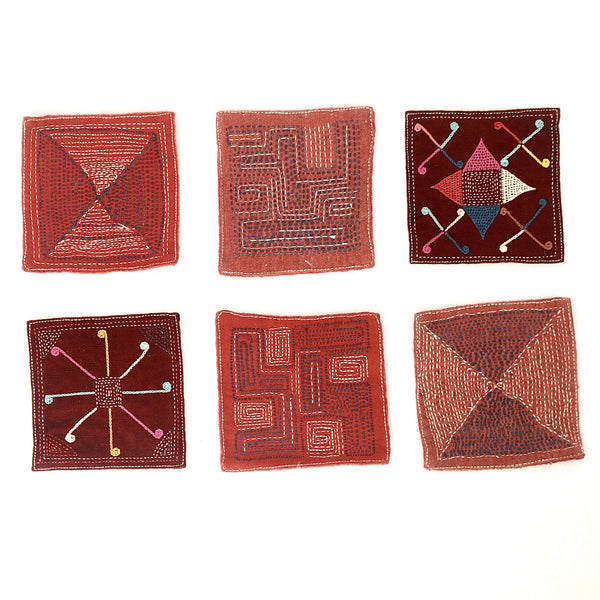 Set of Six Hand Sewn Drinks Coasters (Various Colours)