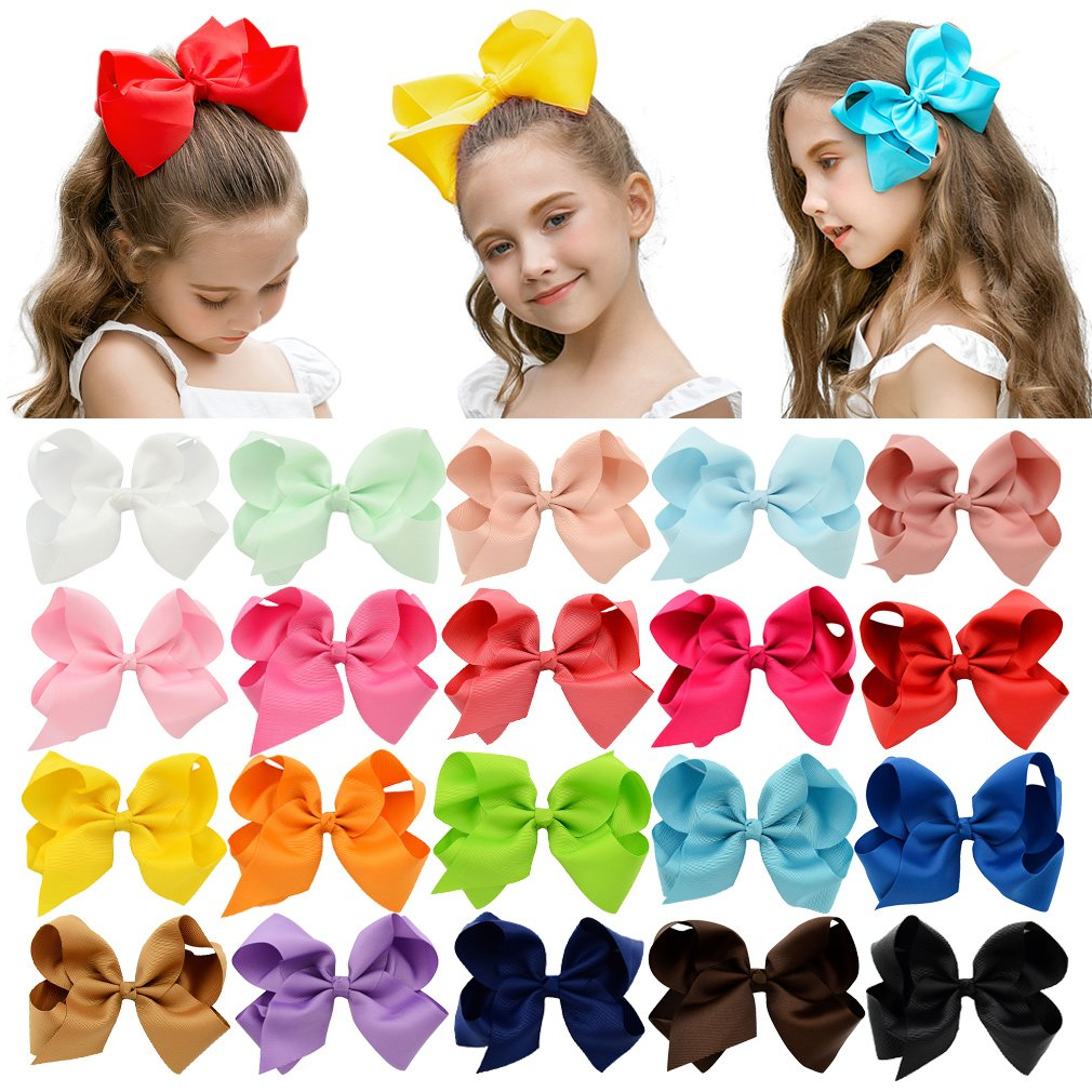 20 Colors 6 Inch Grosgrain Ribbon Girls Butterfly Hair Bows