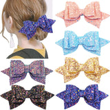 6 Colors 5 Inch Glitter Sequin PU Hair Bows