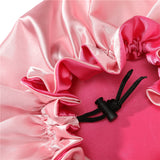 Floral-sided Ajustable Double Layered Reversible Satin Bonnet