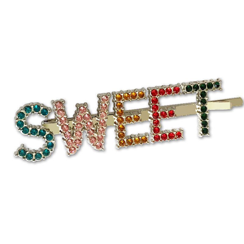 Colorful Letters Rhinestone Bobby Pin