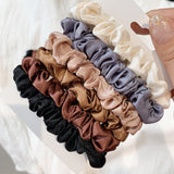 Slim Silky Satin Hair Scrunchies - Set of 6