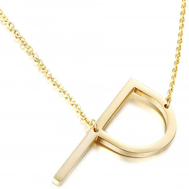 Stainless Steel Sideways Large Initial Necklace