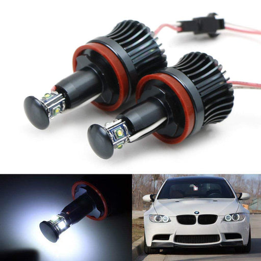 (2) White H8 LED Angel Eyes For BMW 128i 135i 1M 328i 335i M3 535i 550i M5 Z4 X1 X5 X6, (2) Halo Ring Marker Bulbs Powered by 20W High Power 7000K CREE LED Lights-iJDMTOY