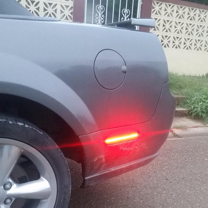 Replace OEM Back Sidemarker Lamps Powered by 54-SMD LED iJDMTOY Clear Lens Red Full LED Rear Side Marker Light Kit Compatible with 2005-09 Ford Mustang
