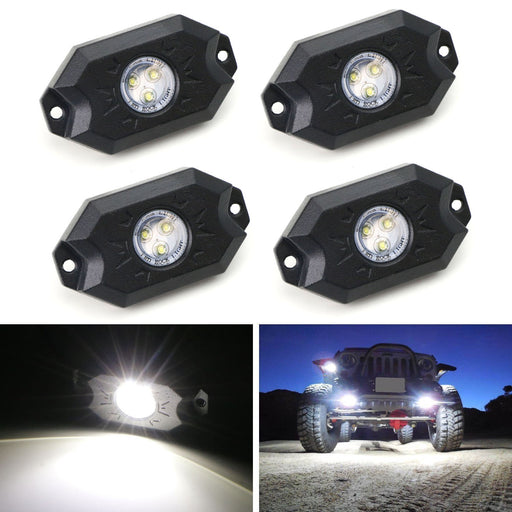 (4) Universal Fit 3-CREE 9W High Power LED Rock Light Kit For Jeep Truck SUV Off-Road Boat, Ultra Blue or Xenon White