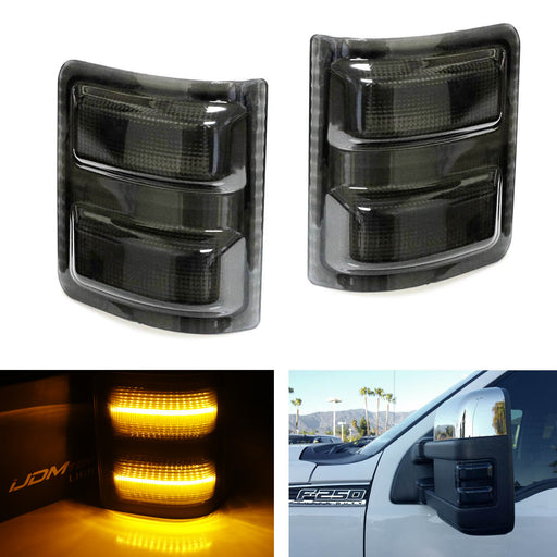 (2) Smoked Lens Amber or White LED Side Mirror Marker Lamps For 2008-16 Ford F250 F350 F450 Super Duty-iJDMTOY