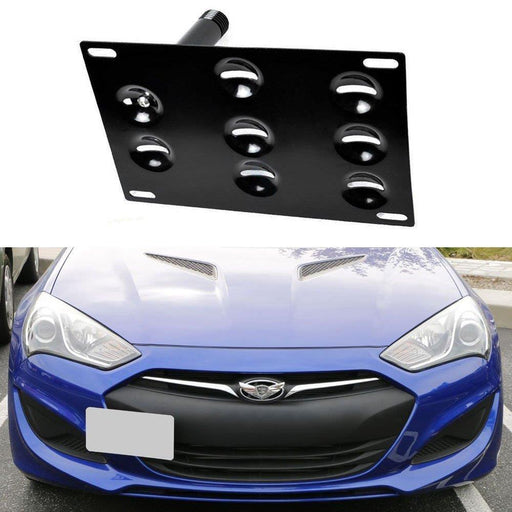 No Drill Front Bumper Tow Hook License Plate Mounting Bracket Adapter Kit for 2010-up Hyundai Genesis Coupe-iJDMTOY