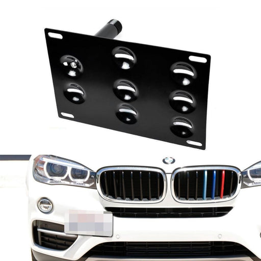 No Drill Front Bumper Tow Hook License Plate Mounting Bracket Adapter Kit for 2016-up BMW F48 X1, 11-17 F25 X3, 14-up F26 X4, 14-up F15 X5, 15-up F16 X6, 09-16 E89 Z4-iJDMTOY