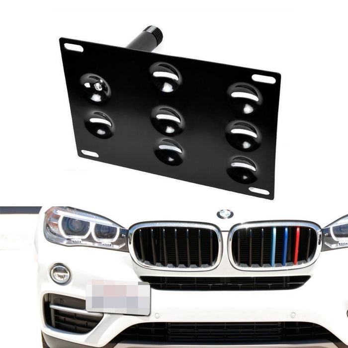 No Drill Front Bumper Tow Hook License Plate Mounting Bracket Adapter For  2016-up BMW F48 X1, 11-17 X3, 14-up X4, 14-up X5, 15-up X6, 09-16 Z4