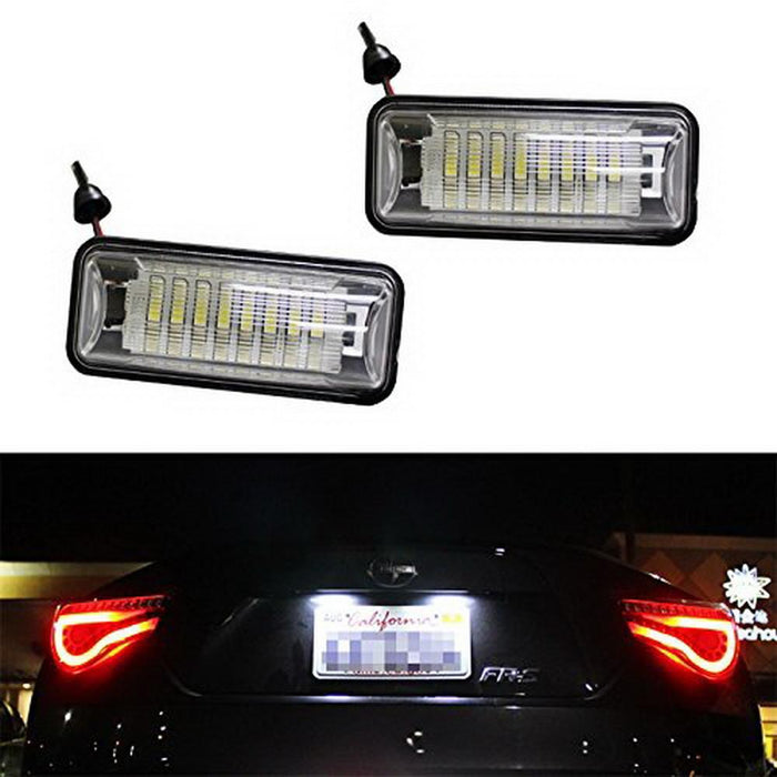 OEM-Fit 3W Full LED License Plate Light Kit For Scion FR-S Toyota 86 Subaru BRZ Impreza WRX STi Legacy Crosstrek, Powered by 24-SMD Xenon White LED-iJDMTOY