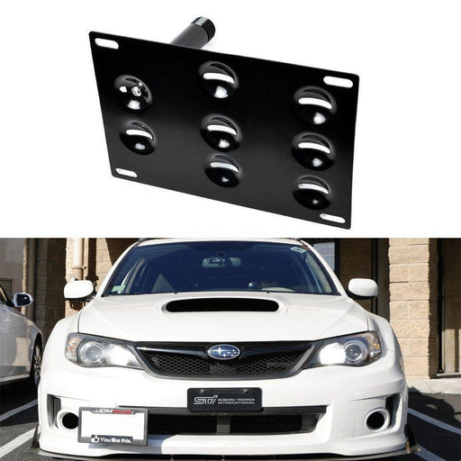 No Drill Front Bumper Tow Hook License Plate Mounting Bracket Adapter Kit for 2008-2014 Subaru WRX and WRX STI-iJDMTOY
