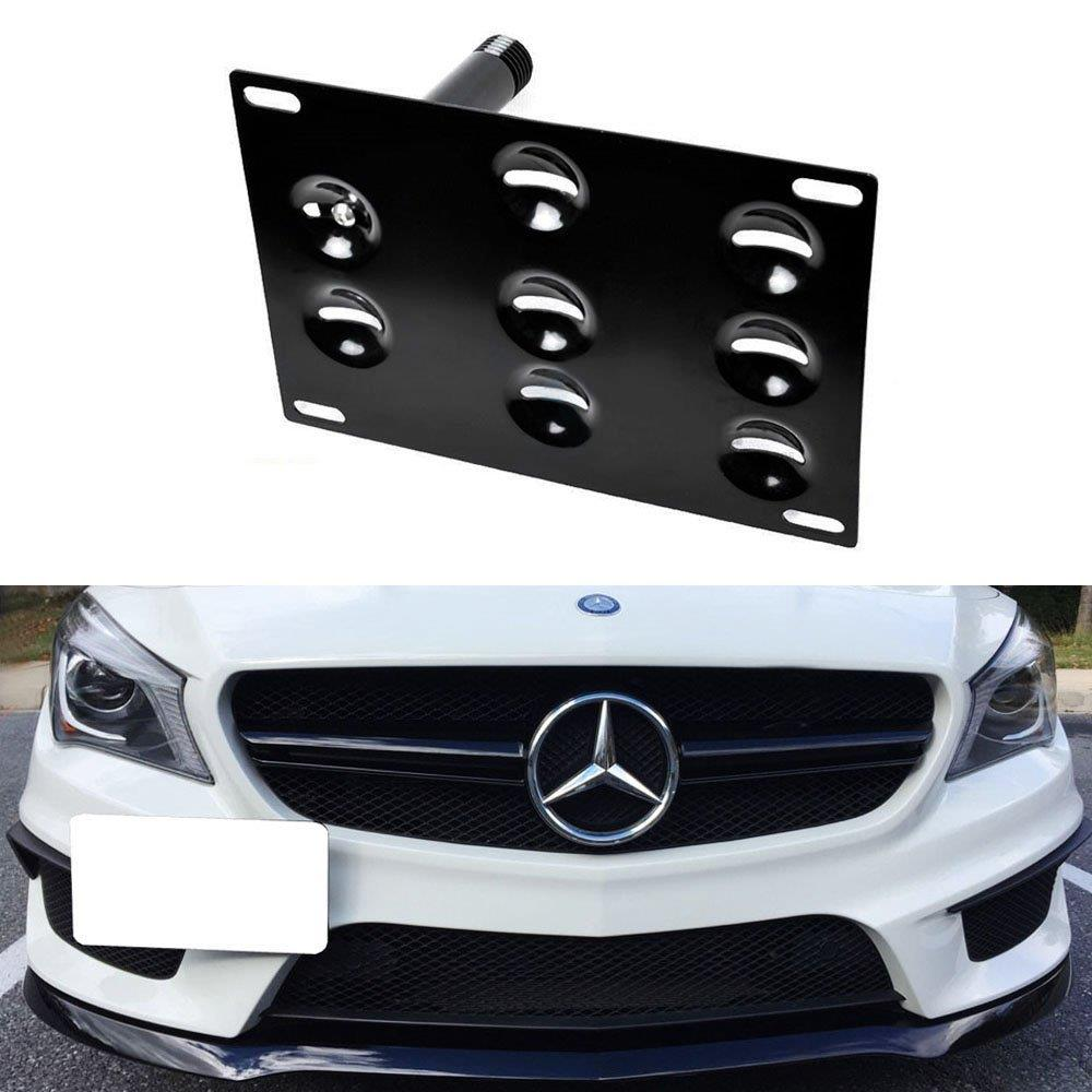 No Drill Front Bumper Tow Hook License Plate Mounting Bracket Adapter Kit for 2014-up Mercedes CLA-Class GLA-Class-iJDMTOY