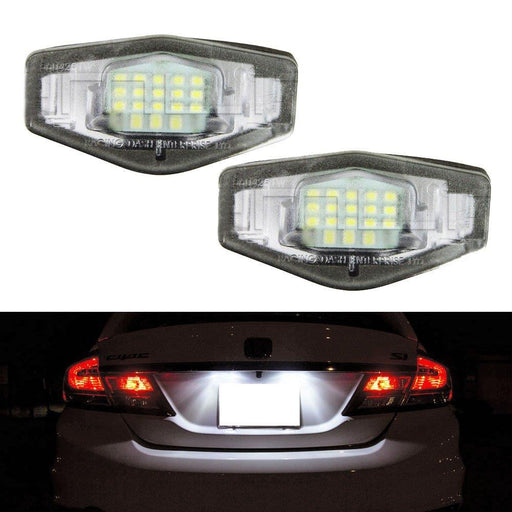 OEM-Fit 3W Full LED License Plate Light Kit For Acura MDX RL TL TSX ILX Honda Civic Accord Odyssey, Powered by 18-SMD Xenon White LED-iJDMTOY
