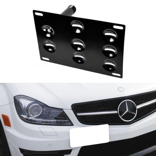 No Drill Front Bumper Tow Hook License Plate Mounting Bracket Adapter Kit for Mercedes W204 C-Class W221 S-Class W166 ML-Class etc-iJDMTOY