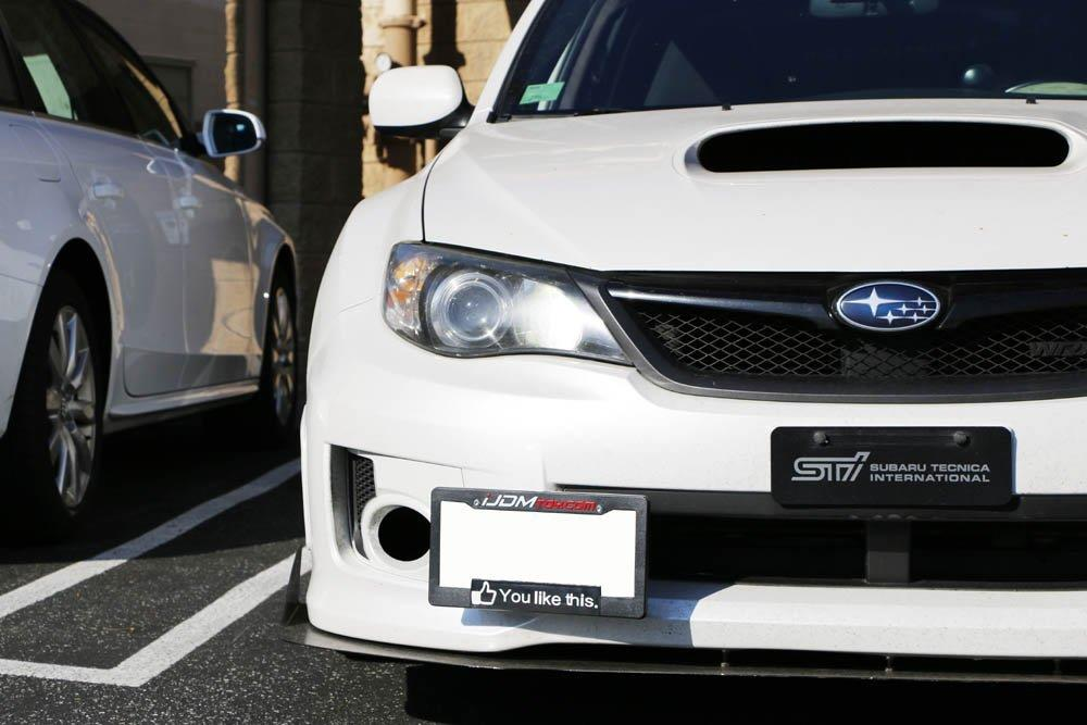 No Drill Front Bumper Tow Hook License Plate Mounting Bracket Adapter Kit  for 2008-2014 Subaru WRX and WRX STI