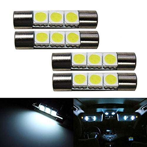 NAKOBO White 29mm Festoon Led Bulb 9-SMD 4014 Chipsets 6614F 6641 6612F 6615F12V for Car Interior Vanity Mirror Sun Visor Dome Lights Pack of 4